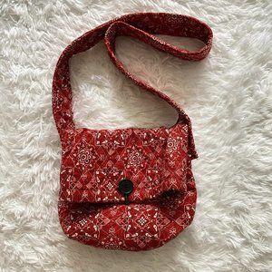 Vintage Bandana Paisley Red Shoulder Pouch Bag